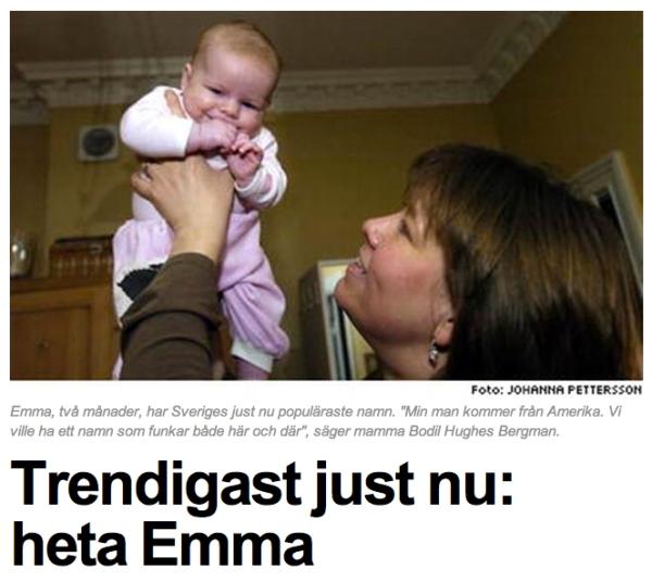 namn till bebisen - Emma 2004