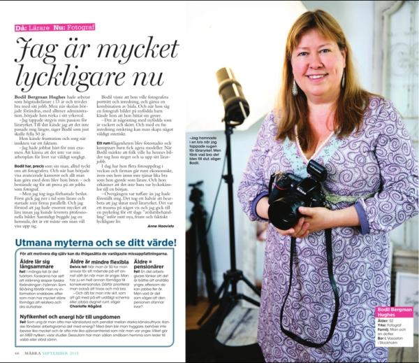 Fotograf Bodil Bergman Hughes i tidningen Må Bra, nr 9 2015